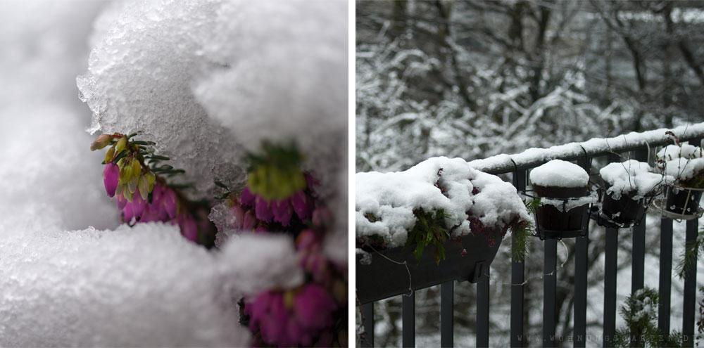 Nasser Schnee auf dem Balkon