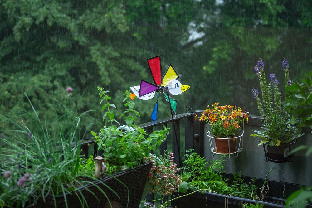 Regen auf dem Balkon